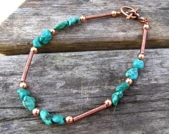 Desert Oasis Turquoise Pebble and Copper Bracelet