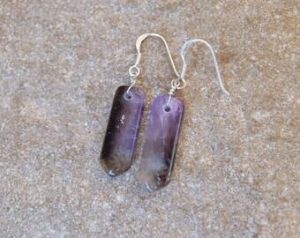 Amethyst & Smoky Quartz earrings - ethical sourced gem stone - asymmetrical long light earrings