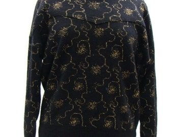 Vintage Black and Gold Sweater Womens Vintage Sweaters Retro Sweaters For Women 80s Style Sweaters Vintage Womens Sweaters