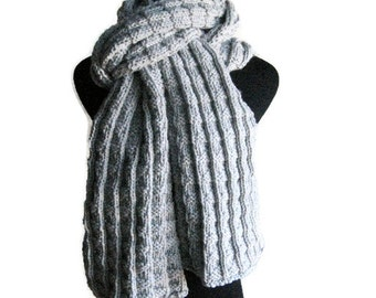 Hand Knit Scarf, Vegan Knits, Mens Accessories, Light Grey Scarf, Long Scarf, Winter Fashion, Womens Accessories, Mens Scarf