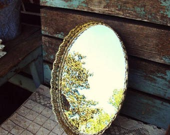 Vintage Mirror Vanity Tray Ormolu Style Filagree Metal Frame Mirrored Tray Hollywood Regency Perfume Makeup Holder Baroque Ornate
