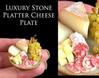 Luxury Stone Cheese & fruit Plate - set on my handmade Walnut Board - Artisan fully Handmade Miniature Dollhouse Food in 12th scale.