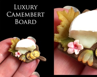 Luxury Camembert Half set on a Fine handmade Walnut Board - Artisan fully Handmade Miniature Dollhouse Food in 12th scale.