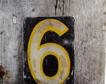 Vintage House Number, Metal Tag, Number6 or 9, Number Six or Nine, Altered Art, Scrapbooking Supply, Old House Parts, Architectural Salvage