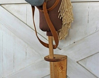 Stick Horse Holder Wall Mount Rustic Horseshoe's Stick Horse Hitching Post Hobby Horse Holder Toy Organization