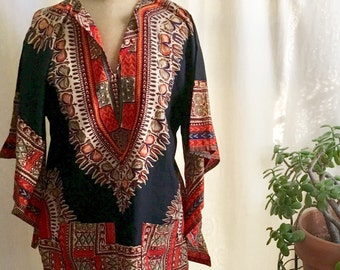 Vintage Dashiki 1970s Indian Hand Printed Tunic XL Unused Butterfly