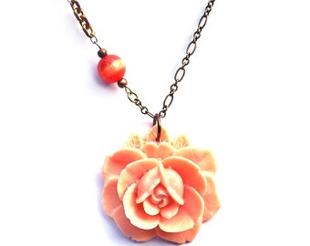 Peach Rose with Vintage Catseye Beads and Brass Necklace. Bohemian. Hippie Chic.