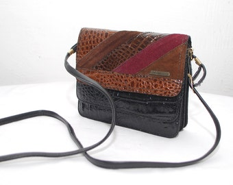 70s colorblock bag. LA TOSCANA small shoulder bag. mock croc patent leather purse. crossbody bag