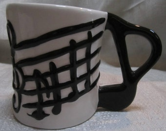 1980'S - White with Black Music Notes Coffee Mug by Five n Dime original ~  Style 4051