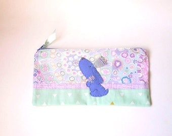 "Zipper Pouch, 5x9.75"" in mint, cream, pink, purple and gray printed fabric with Handmade Felt Dog Embellishment, Puppy Zipper Pouch"