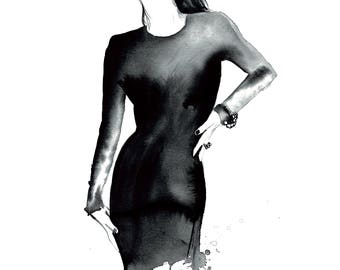 Femme Fatale, print from original watercolor and mixed media fashion illustration by Jessica Durrant