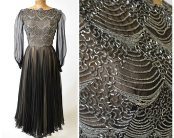 Sweeping Black Chiffon Evening Dress w Beaded Bodice // Alluring Nude Illusion Style // Ethereal Old Hollywood Glamour Formal Gown