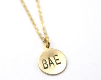 BAE Gold Fill Necklace | Best Aunt Ever | Best Auntie Ever | Aunt Appreciation | Salt Bae | Beyonce Bae | Geometric Necklace Trendy Jewelry