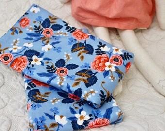 Oversized Burp Cloth - Birch Periwinkle - LES FLEURS by Rifle Paper Co. - Cotton & Steel