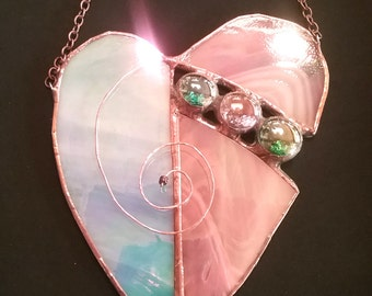 Glass Heart in Pink and Blue with Glass Nugget Insert and copper wire spiral, Stained Glass Suncatcher