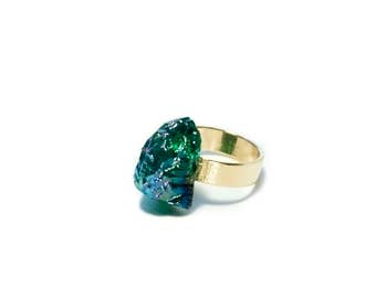 50% OFF Geode Cocktail Ring Green Raw Gem Druzy Jewelry