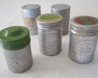 Vintage 35mm Film Cannisters Kodak Perutz and BW 35mm Negative from 1950s