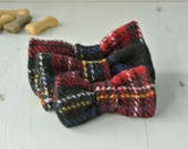 Dog Bow Tie, Tartan Plaid Harris Tweed Bow Tie, Detachable Bow tie, black and red Bow Tie, Plaid Bow tie