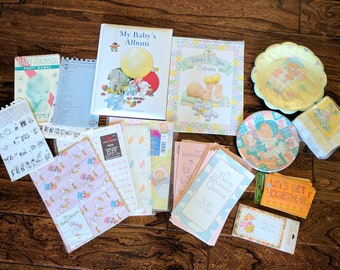 Vintage Baby Shower Kit! Calendar, Baby Book, 16 Plates, 16 Invitations,