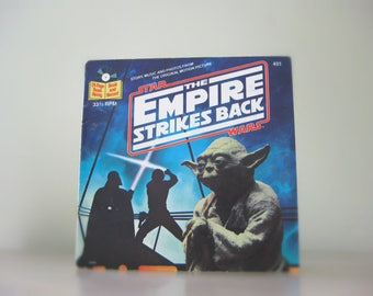 1980 Star Wars Empire Strikes Back Read Along Book and Record - Vintage Star Wars 45 Record, Vinyl Record, Yoda, Darth Vader, Luke Skywalker
