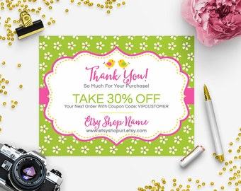30% OFF SALE Thank You Card - Business Thank You Card - Promotional Card - Branding - Packaging - Etsy Shop Cover - Birdies and Blossoms