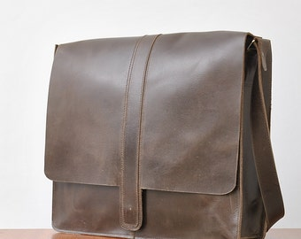 Leather laptop bag Large size  bag satchel bag leather bag shoulder bag over shoulder leather bag dark brown