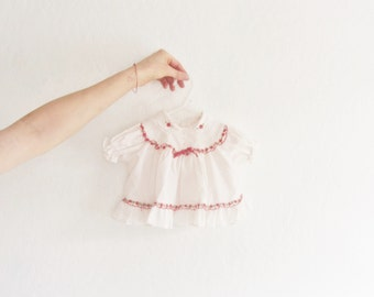 1980 christmas baby dress and bloomers . white with red dots and flowers . matching set