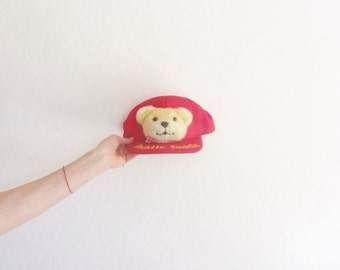 fiddle faddle teddy bear hat . kitsch plush stuffed animal trucker cap . unisex wear