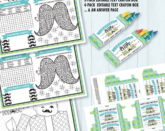 Little Man Mustache Placemat - Birthday, Baby Shower, Activity Page, Crayon Box, Game Placemat - DIY Printable Kit INSTANT Download PDF