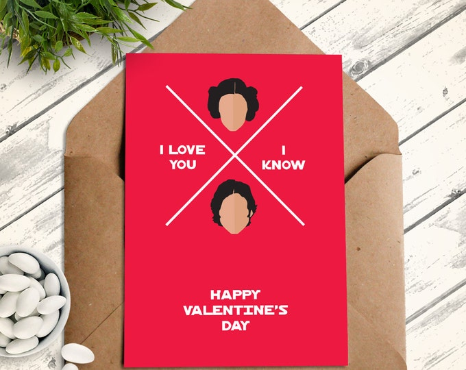 Star Wars Valentine Card - I Love You I Know Card, Princess Leia, Han Solo - PDF & jpg Greetings Card INSTANT Download DIY Printable Kit
