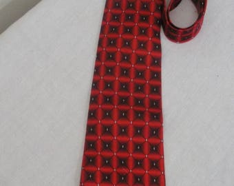 Vintage Red & Black Hai Da Tie - Mens Necktie