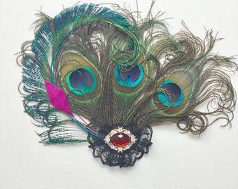 Peacock feather hair clip-Peacock feather fascinator.