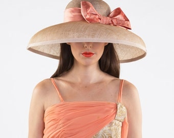 Carmen - Natural brim with orange bow