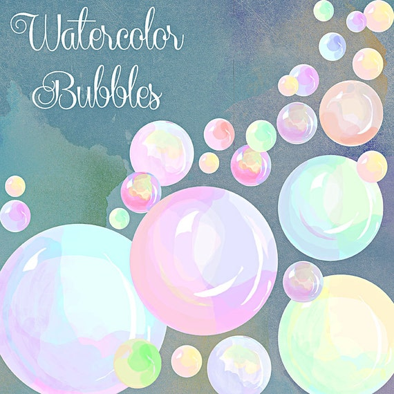 Watercolor Clipart, bubbles in watercolor, scrapbooking supplies, digital art, digital download, nursery art, nursery invitation art