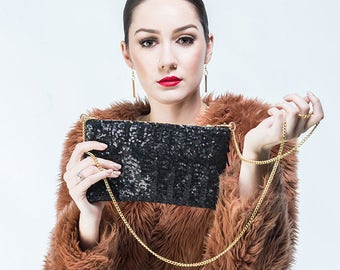 The Matte Black Sequin Evening Bag Purse/Handbag/Clutch Gold chain/tassel/small