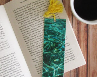 Water Bookmark with Tassell. - Photo Bookmark - Page Marker - Beach - Photography- Coastal