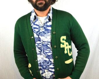 Vintage 1952 Green Wool Letterman Novelty Cardigan Sweater - SPC St. Petersburg College Florida