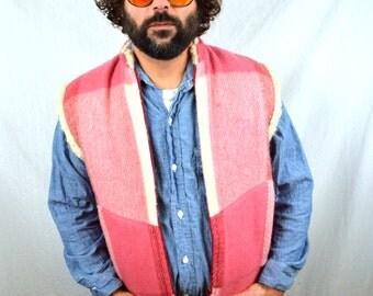 Vintage Pink Plaid Wool Cozy Winter Vest - Made in Norway