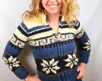 Vintage 70s Cowichan Cardigan Wool Sweater - Longhouse Canada