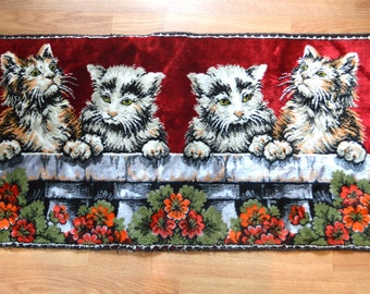 Vintage Kitty Cat Kitten Rug Wall Hanging Tapestry