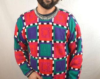 Vintage 1980s Rainbow Geometric Sweater by the Limited