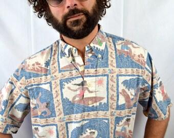 Vintage Reyn Spooner Surfer Summer Hawaiian Shirt - Detrich Varez