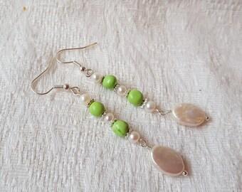 Turquoise & Freshwater Pearl Earrings