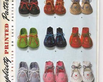 Uncut, Baby, Sewing pattern, Simplicity 2867, Infant, Boy, Girl Shoes, Booties, Vintage Remake from 1948, Floral Embroidery, Shower Gift,