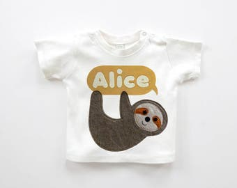 Organic Baby Sloth Personalised  T-Shirt:  Baby Shower Gift
