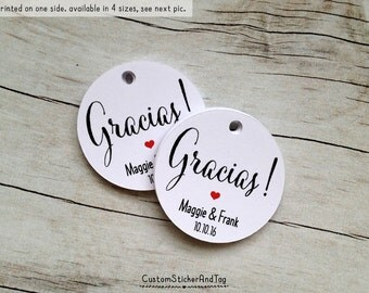 """50 gracias tags with custom initials and wedding date, circle 1.5"""" wedding favor tags, personalized tags, thank you tags gift tags (T-49)"""