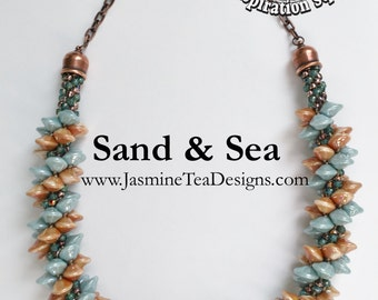 Sand And Sea Beaded Kumihimo Necklace, Sample Sale Jewelry, 23 Inch Necklace, Seafoam And Apricot Beaded Necklace