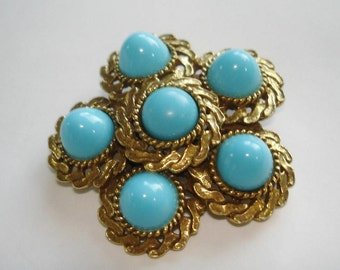 Turquoise Stones Fur Clip  Brooch Silver  Tone.