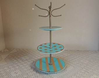 Gold and Turquoise Three Tiered Jewelry Stand. Eight Hook Ceramic Ring Tree. Blue Green and Gold Jewelry Organizer. Jewelry Holder.