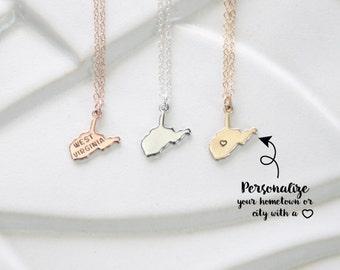 West Virginia State Necklace, Rose Gold State Small West Virginia, Gold West Viginia State Charm, West Virginia Necklace Sterling, Bracelet